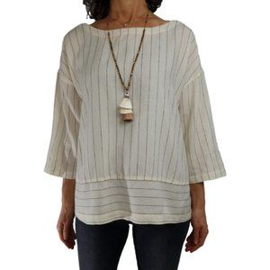 Organic Cotton Blend Cream Stripe Box Top Spring
